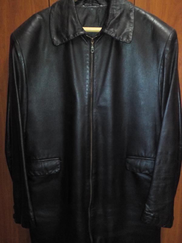 Куртка кожаная утепленная черная