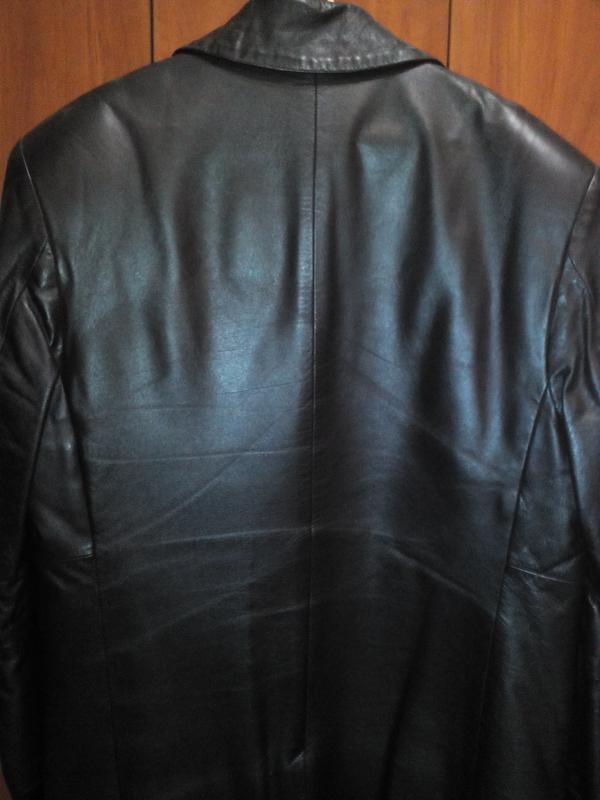 Куртка кожаная утепленная черная - Фото 3