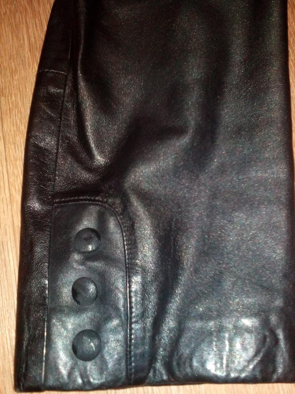Куртка кожаная утепленная черная - Фото 4