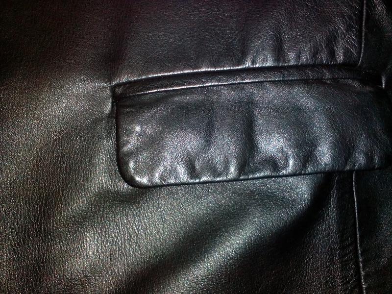 Куртка кожаная утепленная черная - Фото 5