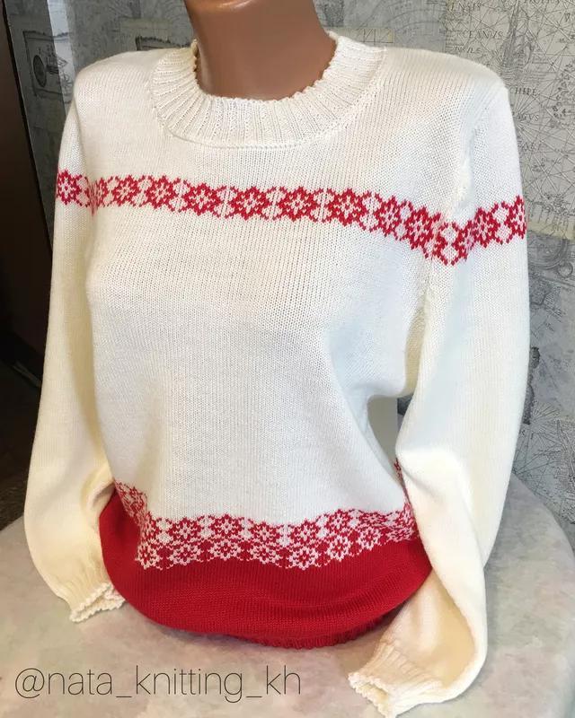 Белый шерстяной свитер с жаккардовым узором
