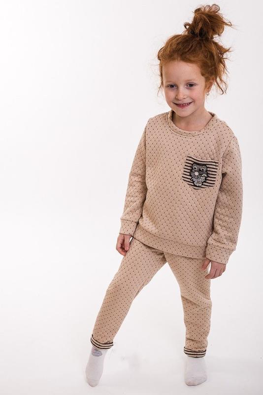 Стеганый костюм для девочки, свитшот и штаны