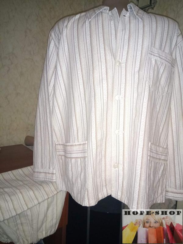 🌙мужская светлая полосатая пижама кофта на пуговицах с брюками