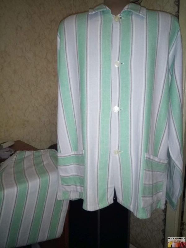 🌙мужская полосатая пижама на пуговицах с брюками.50