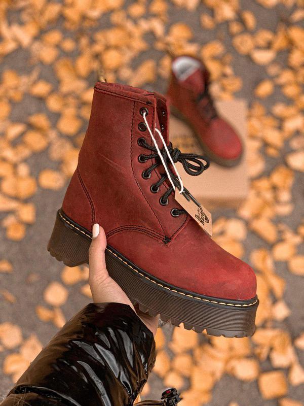 Женские зимние кожаные ботинки/ сапоги/ угги dr. martens bordo...