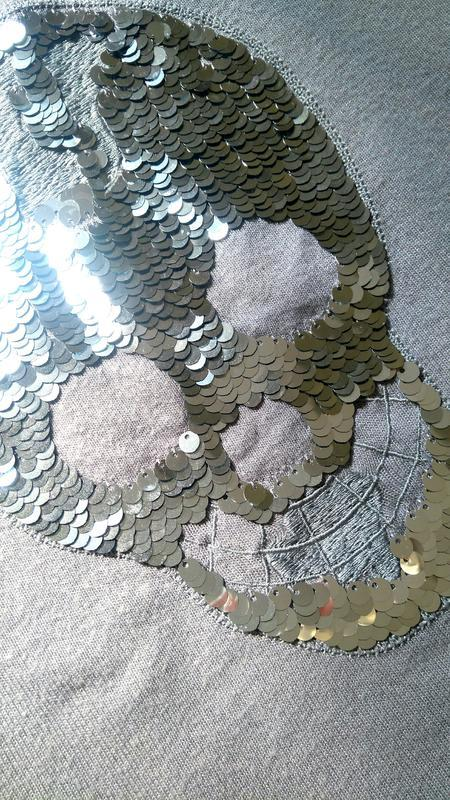 Кофта c черепом в паетках в стиле philipp plein - Фото 4