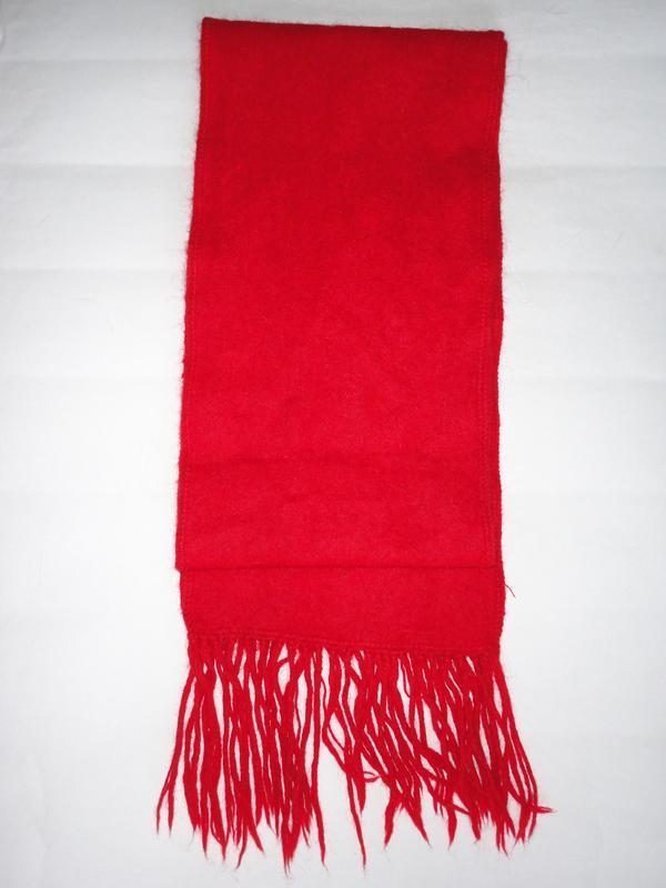Красный шарф 100% шерсть    160х20см