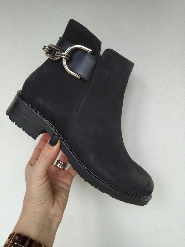 Стильные зимние ботинки, натуральный нубук!