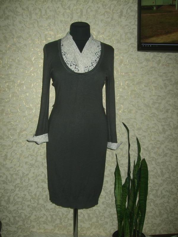 Теплое платье миди с кружевом
