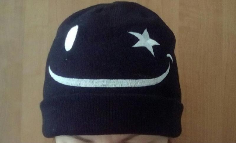 Тёплая шапка смайлик