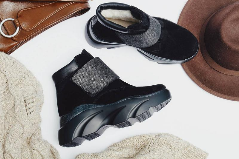 Женские черные зимние ботинки на липучке