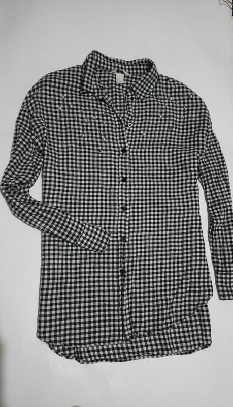 Рубашка с бусинами,h&m ,коттон 100% .