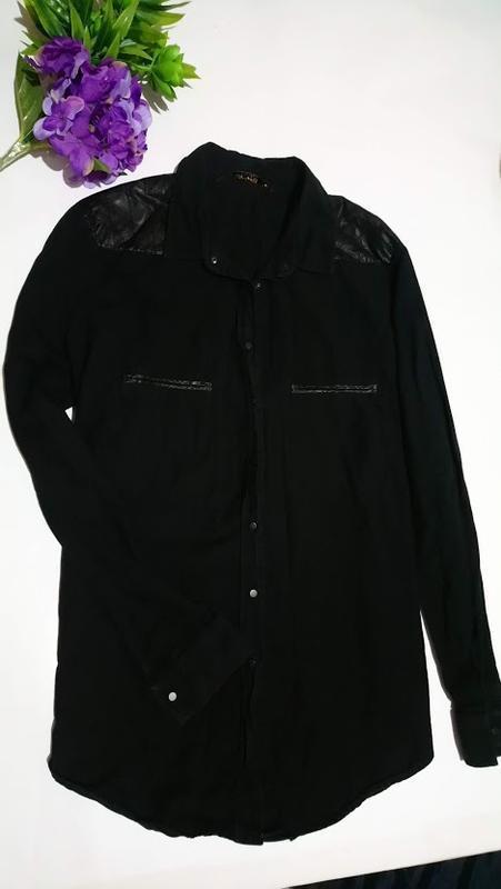 Стильная рубашка с кожаными вставками.zara. элитная серия./раз...