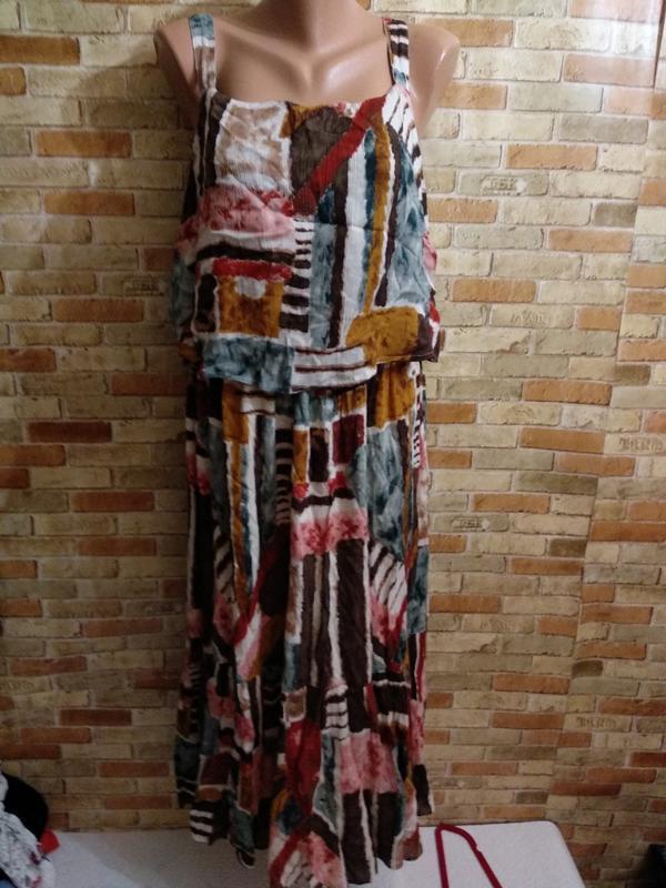 Новое натуральное платье в принт 16/50-52 размера