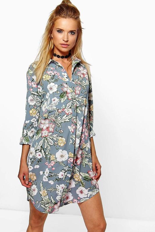 Красивое платье рубашка цветочный принт 54-56 размера