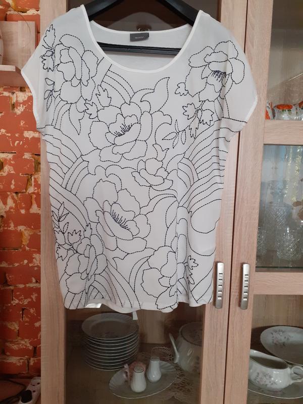 Натуральная вышитая  спереди блузка yessica большого размера