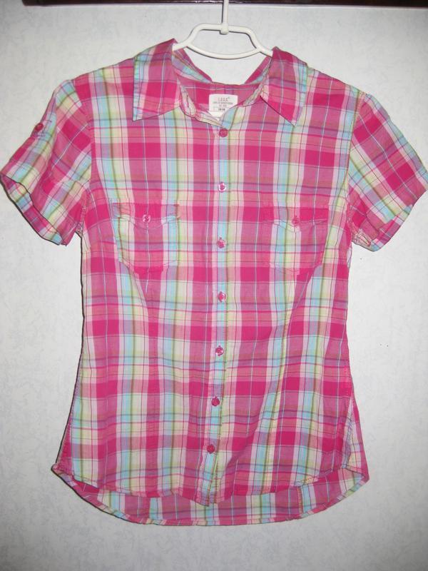 Рубашка h&m с коротким рукавом в клеточку розовая голубая