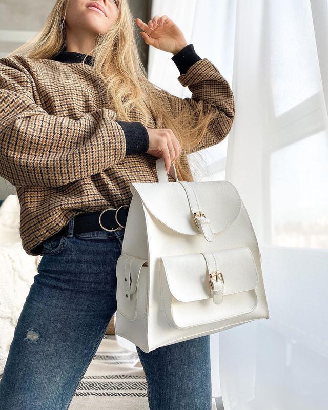 Белый городской рюкзак с карманами белоснежный