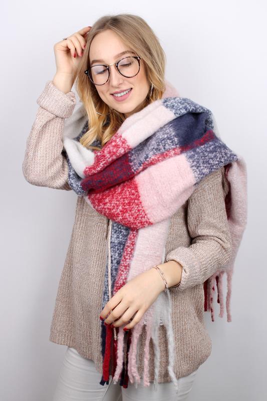 Теплый шарф плед клетка красный розовый синий