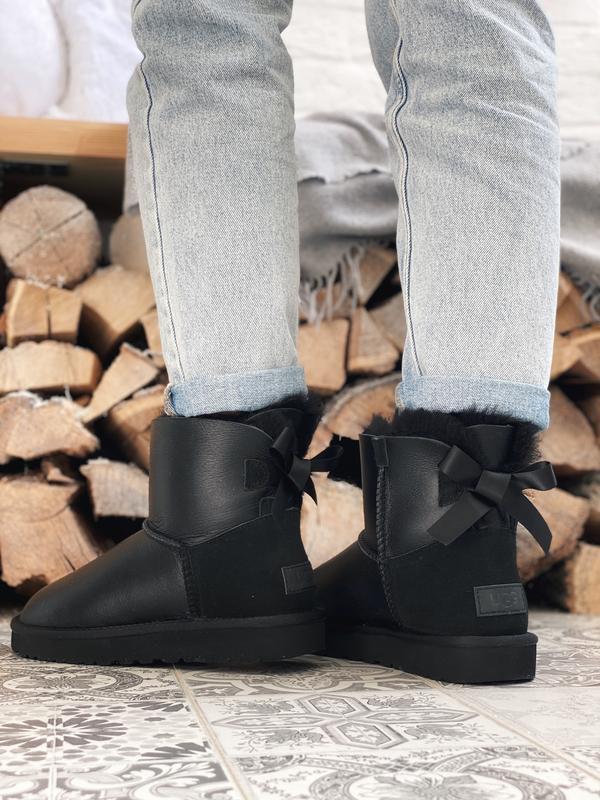 Ugg bailey bow! женские кожаные зимние угги/ сапоги/ ботинки/ ...