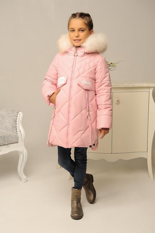 Размер 32-42 Стильный зимний пуховик на девочку - Фото 3