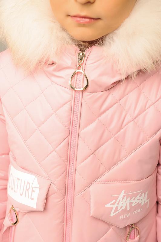 Размер 32-42 Стильный зимний пуховик на девочку - Фото 13