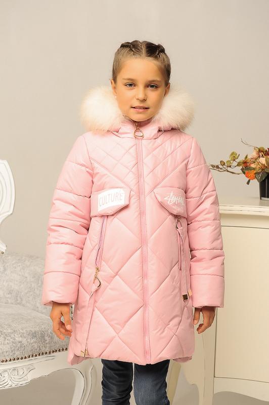 Размер 32-42 Стильный зимний пуховик на девочку - Фото 4