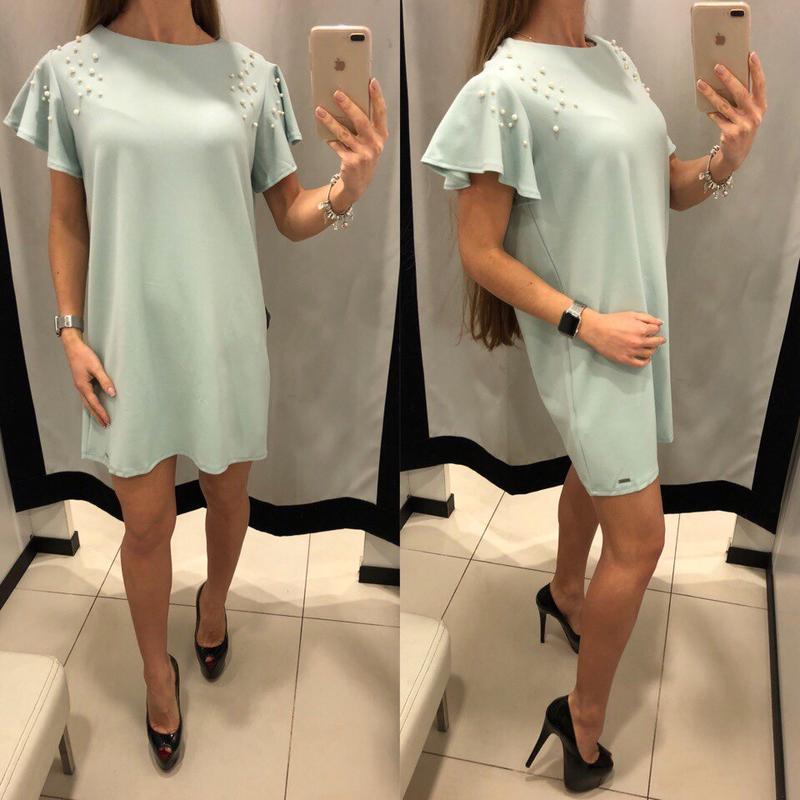 Мятное платье с жемчугом mohito зеленое платье с бусинами xs s...