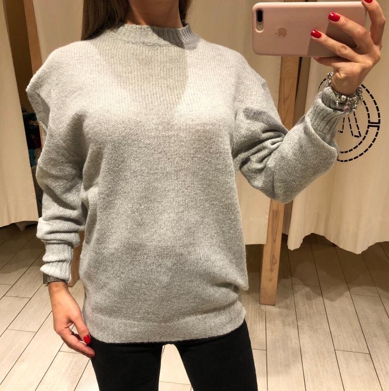 Объемный серый свитер вязаный пуловер джемпер house есть размеры