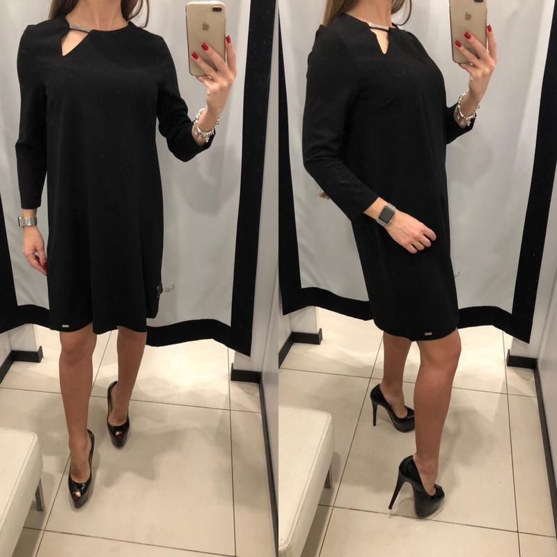 Чёрное платье прямого кроя mohito размер xs