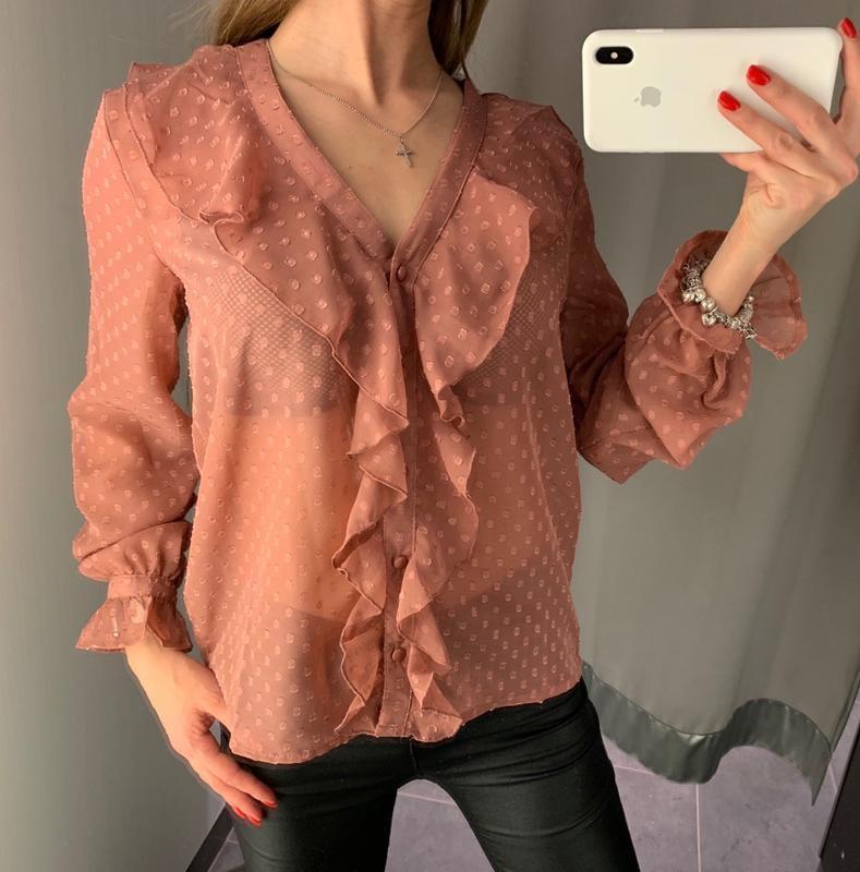 Пудровая шифоновая блуза amisu есть размеры