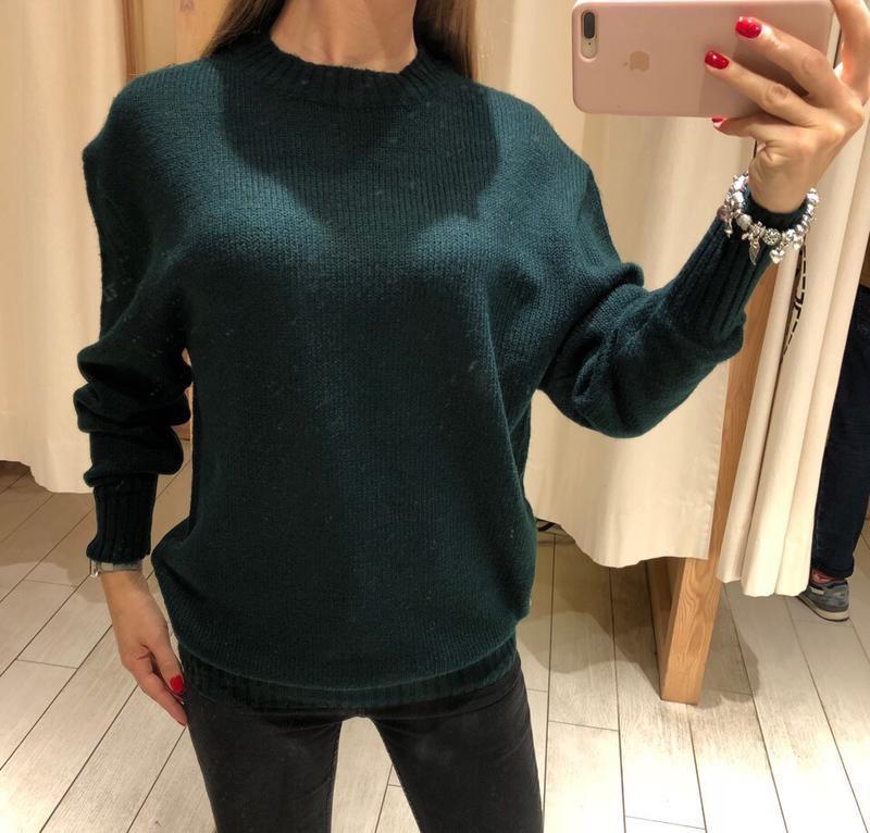 Тёплый зелёный свитер оверсайз house есть размеры