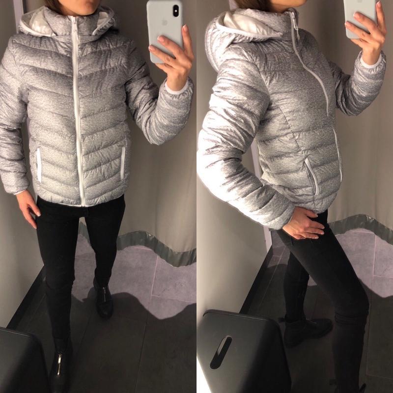 Теплая серая куртка курточка с капюшоном amisu есть размеры