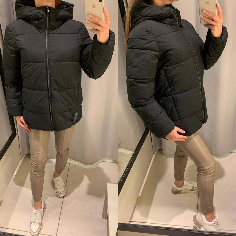Теплая чёрная куртка пуффер курточка reserved есть размеры