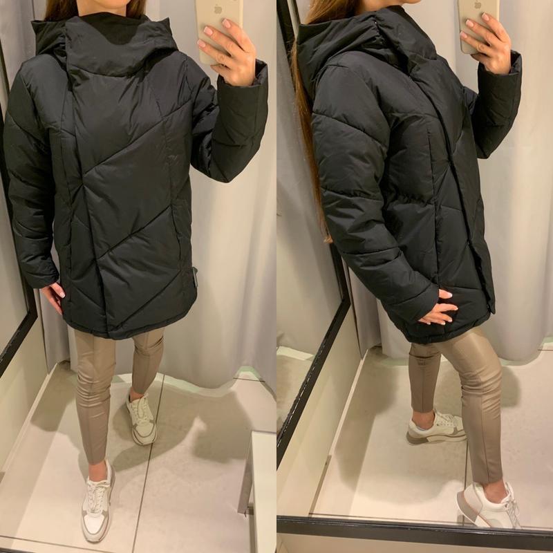 Теплая чёрная куртка пальто одеяло курточка reserved есть размеры