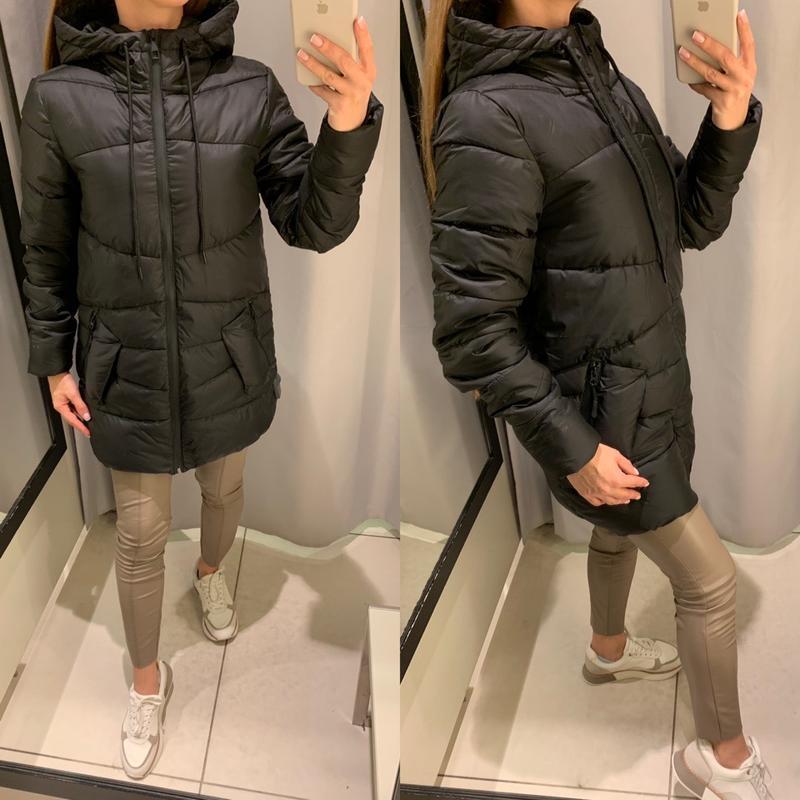 Удлиненная чёрная куртка пальто курточка reserved есть размеры