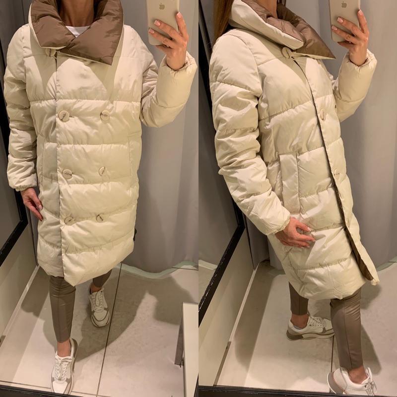 Пальто в стиле колорблок теплая куртка reserved есть размеры