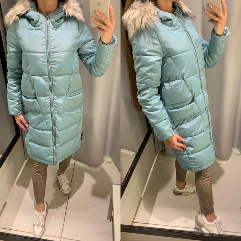 Тёплое голубое пальто с мехом куртка reserved есть размеры