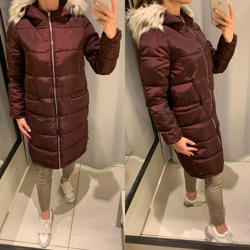 Тёплое бордовое пальто куртка с мехом reserved есть размеры