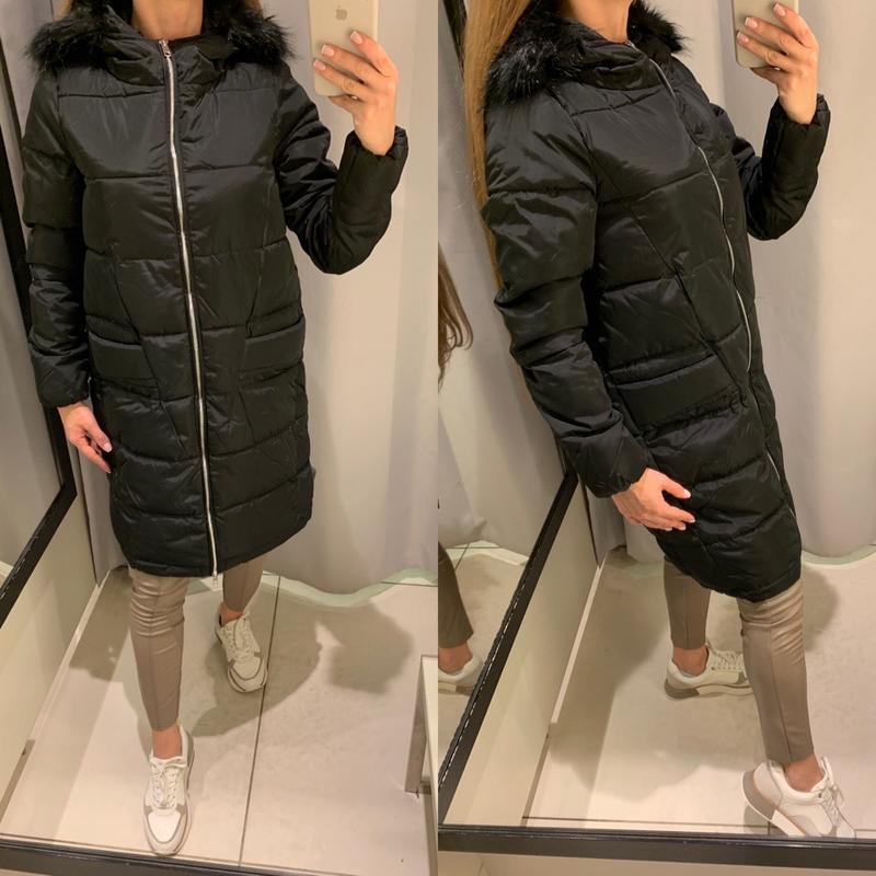 Тёплое чёрное пальто с мехом куртка reserved есть размеры