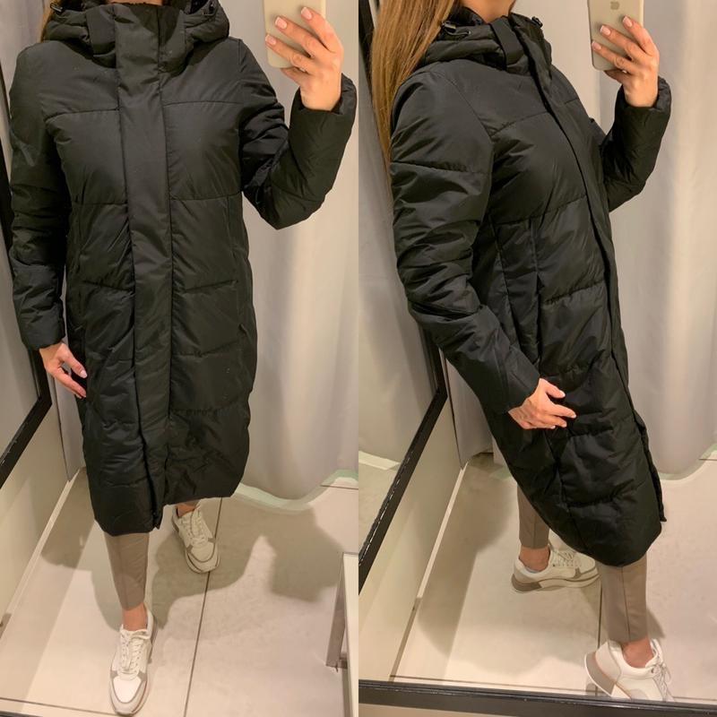 Длинное чёрное пальто теплая куртка reserved есть размеры