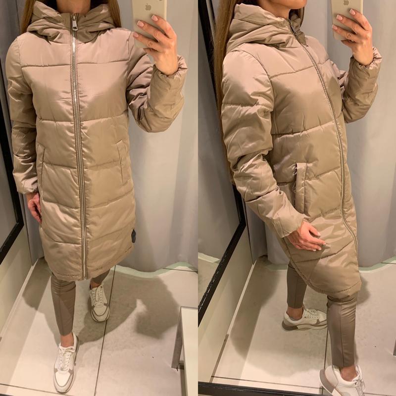 Бежевое пальто с меховым капюшоном куртка reserved есть размеры