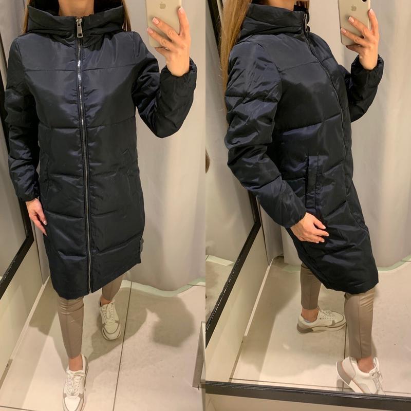 Синее пальто с меховым капюшоном куртка курточка reserved есть...