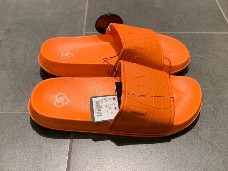 Оранжевые пляжные шлёпанцы тапочки amisu есть размеры