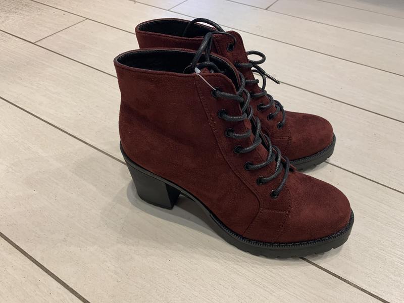 Бордовые ботинки на устойчивом каблуке ботильоны house есть ра...