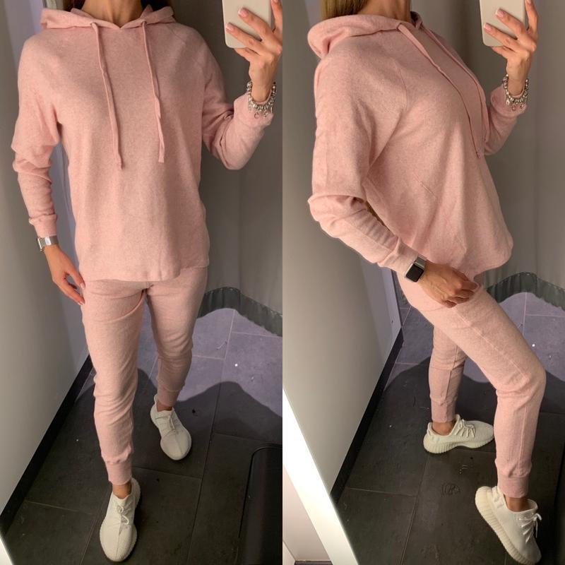 Нежно розовый флисовый спортивный костюм комплект amisu есть р...