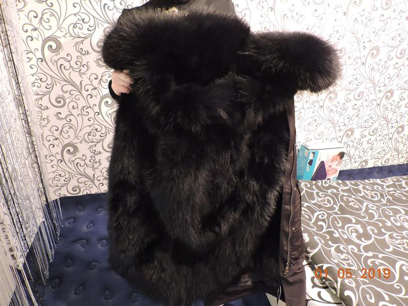 Куртка Парка из натурального Меха,Мех енота,Лисий Мех мех большо - Фото 5