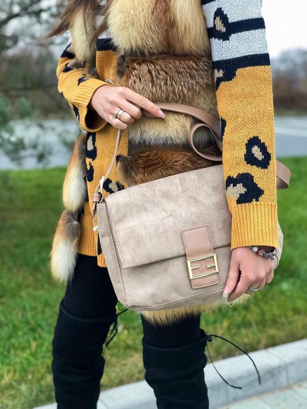 Бежевая стильная сумка