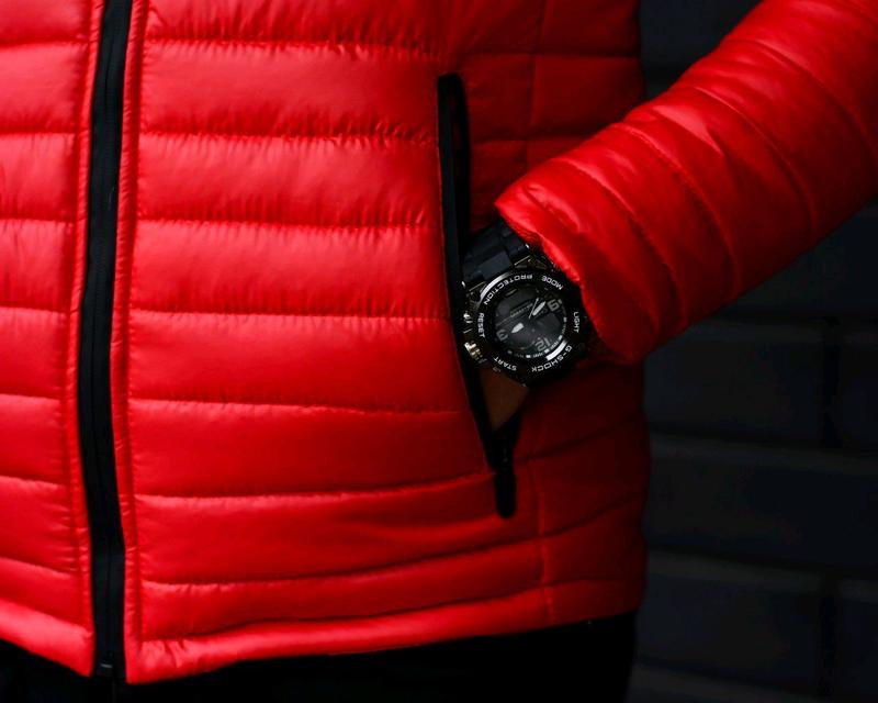 Мужская куртка с капюшоном красная - Фото 6