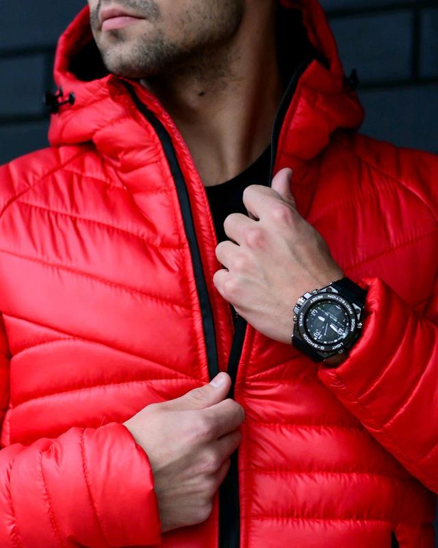 Мужская куртка с капюшоном красная - Фото 2
